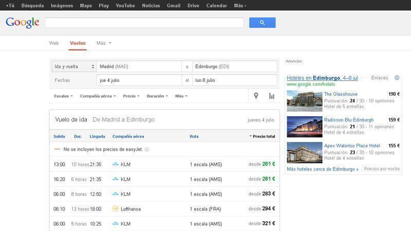 Google desembarca en Europa con su buscador de vuelos