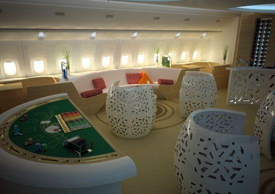 Una mesa de Black Jack en la cabina de un avión de pasajeros | Foto: Designescene.com