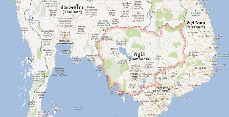 Situación de Camboya en el Sur de Asia | Fuente: Google Maps
