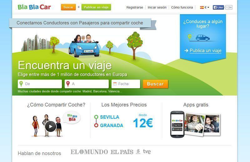 Página principal de BlaBlaCar