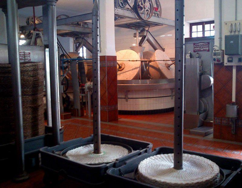 Interior de la almazara Nuñez de Prado. En primer plano, láminas para prensar la pasta de aceituna triturada y escurrir el aceite. Al fondo, molino con piedras tronco cónicas para apisonar la aceituna | Foto: David Fernández