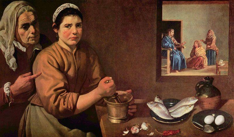 Cristo en la casa de Marta y María, cuadro del pintor Diego Velázquez | Fuente: National Gallery de Londres