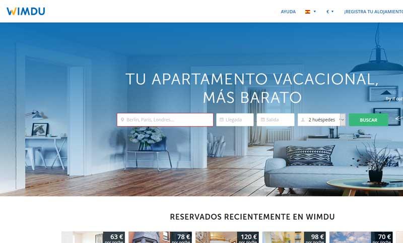 Web de Wimdu en 2018