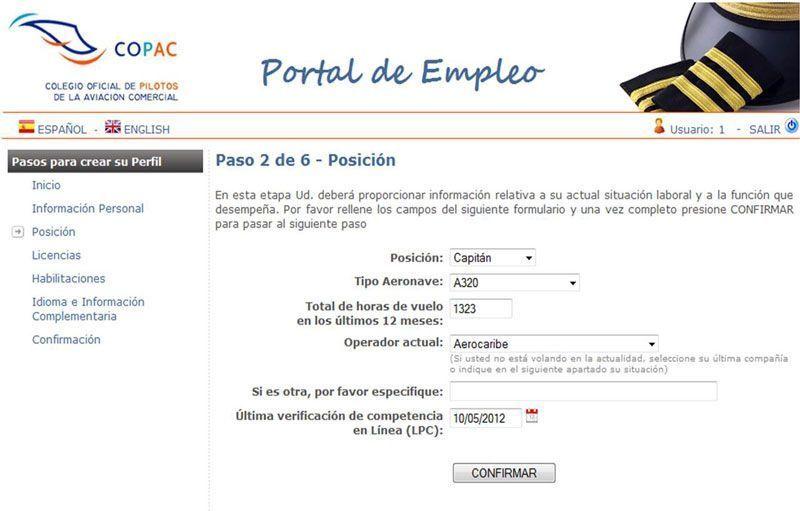 Portal de empleo del COPAC