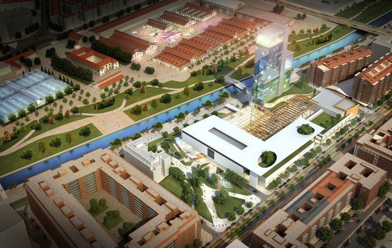 Recreación del hotel en la ribera de Madrid Río | Foto: Ayuntamiento de Madrid