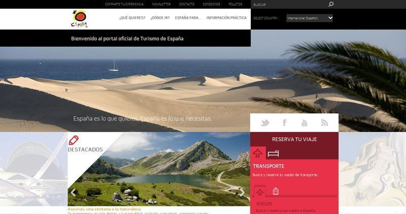 Nuevo aspecto del portal Spain.info
