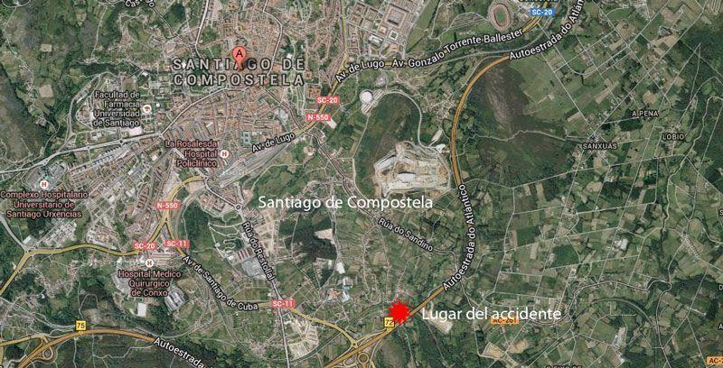 Situación del accidente del Alvia Madrid-Ferrol   Foto: Google Maps
