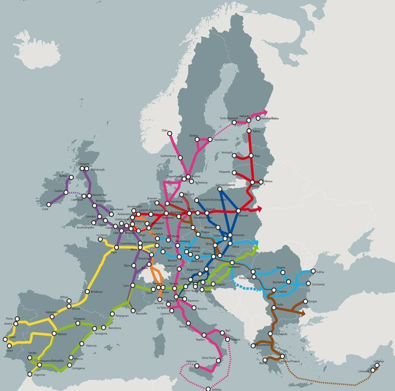 Corredores de transporte planeados para Europa | Fuente: Comisión Europea