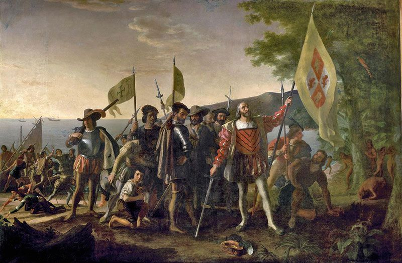 Descubrimiento de América por Cristóbal Colón, pintura de John Vanderlyn (1847)