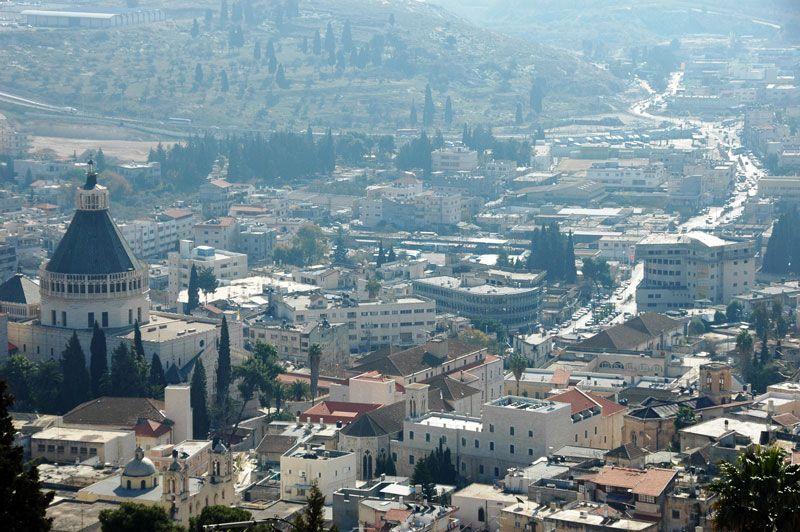 Vista de Nazaret, con la basílica de la Anunciación en primer término | Foto: Turismo de Israel