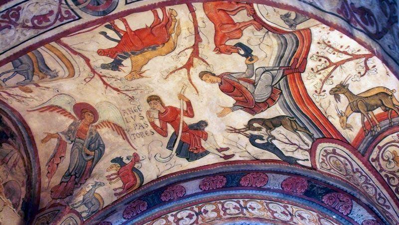 Pinturas románicas en los techos del panteón de San Isidoro de León | Foto: David Fernández