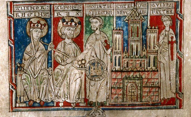 Miniatura del rey Alfonso VIII de Castilla y la reina Leonor de Plantajenet en el 'Tumbo menor de Castilla'