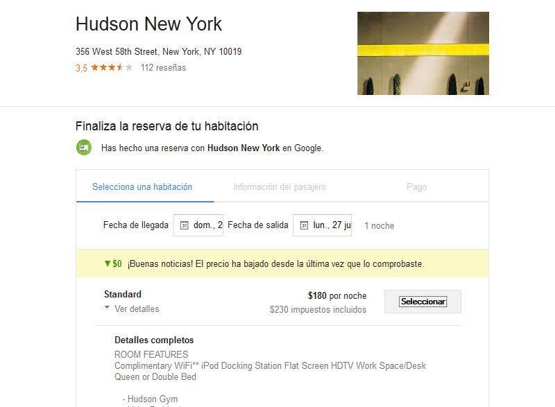 Reservas de habitaciones de hotel con Google