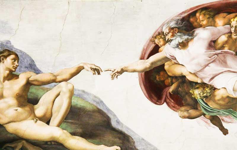 Fresco de la creación de Adán en la Capilla Sixtina | Foto: Pixabay
