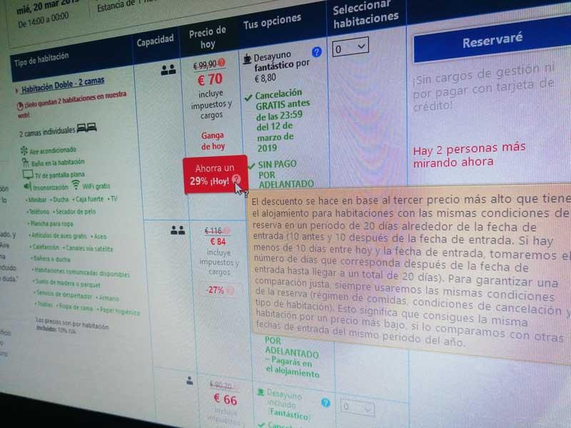 Captura de Booking con ofertas