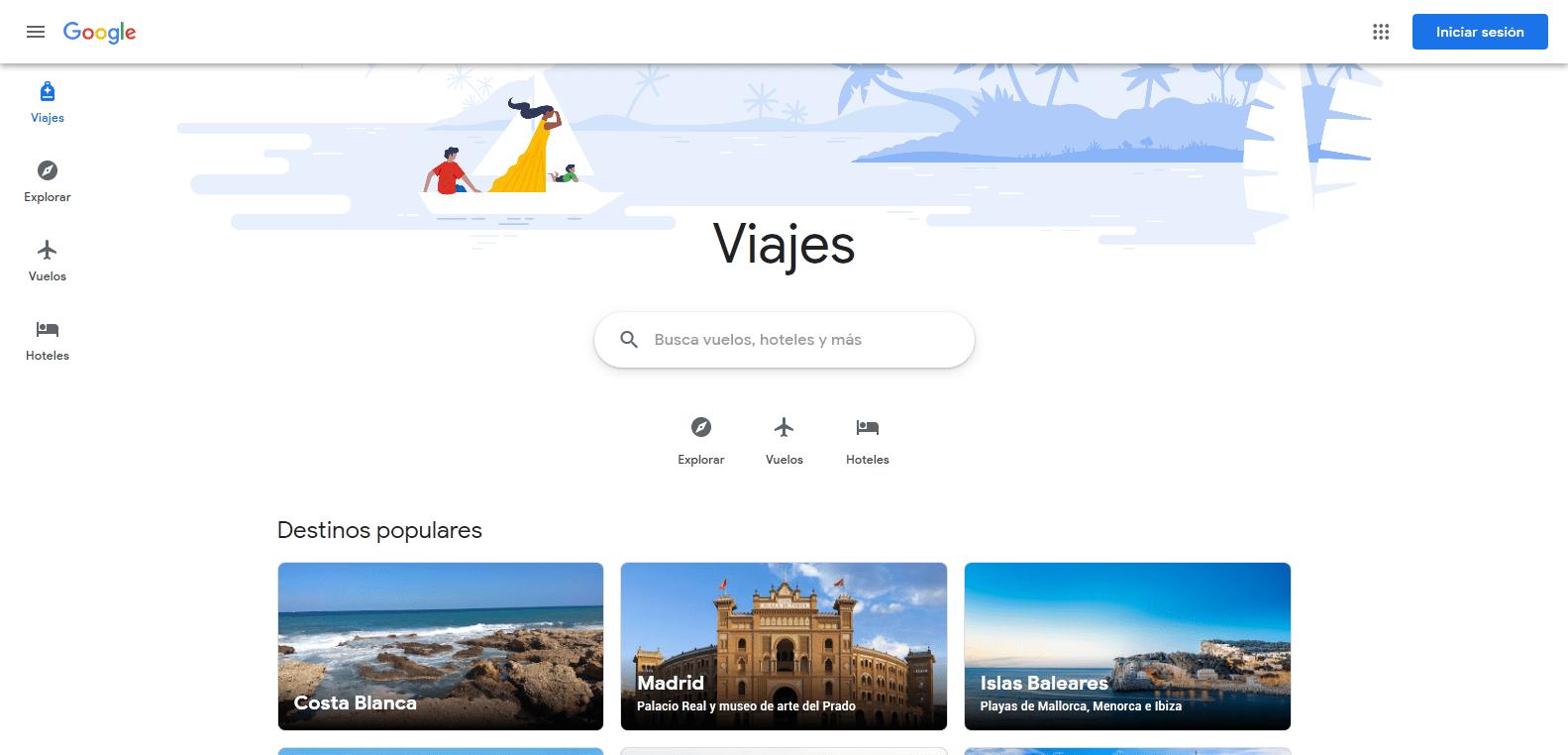 Página principal de Google Viajes