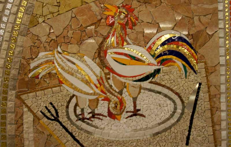 Mural del gallo y la gallina en la cripta de la catedral de Santo Domingo de la Calzada | Foto: Beatriz de Lucas Luengo